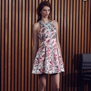 Zimmermann floral silk linen fit and flare dress